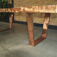 Wooden Table with Copper Metal Legs