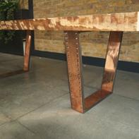 Polished Copper Metal Table Legs