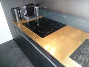 Metal Cladding Brass Kitchen Worktop