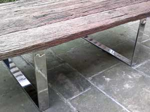 Polished Metal Table Legs With Wooden Top